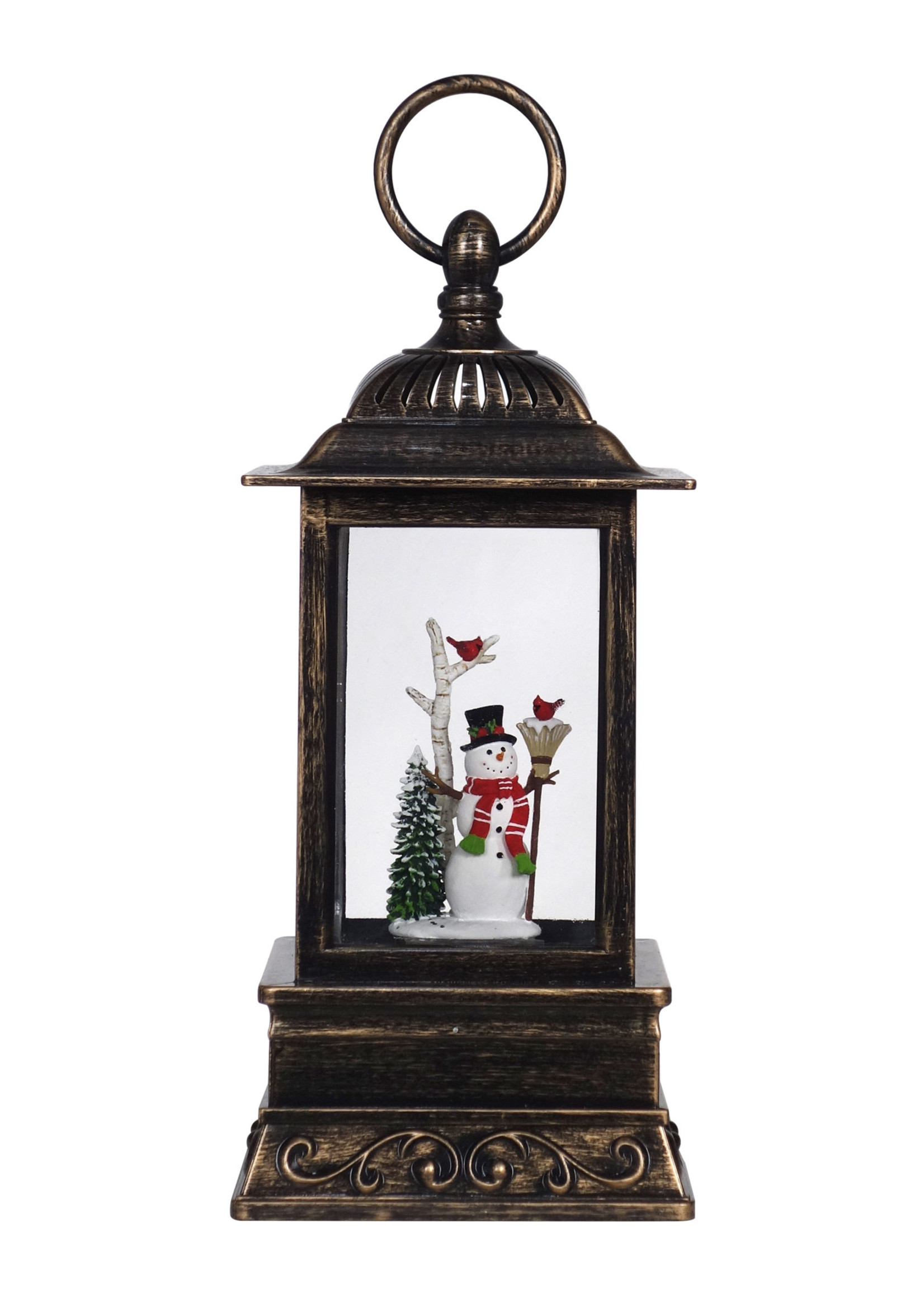 """Christmas is Forever 10.5"""" Snowman with Broom Glitter Lantern"""