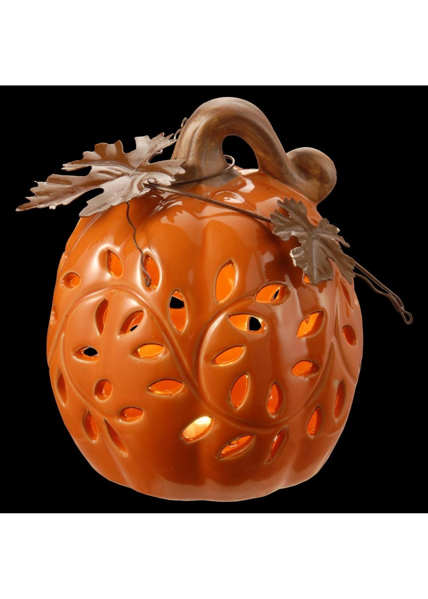 "Opportunities 6"" LED Ceramic Pumpkin"