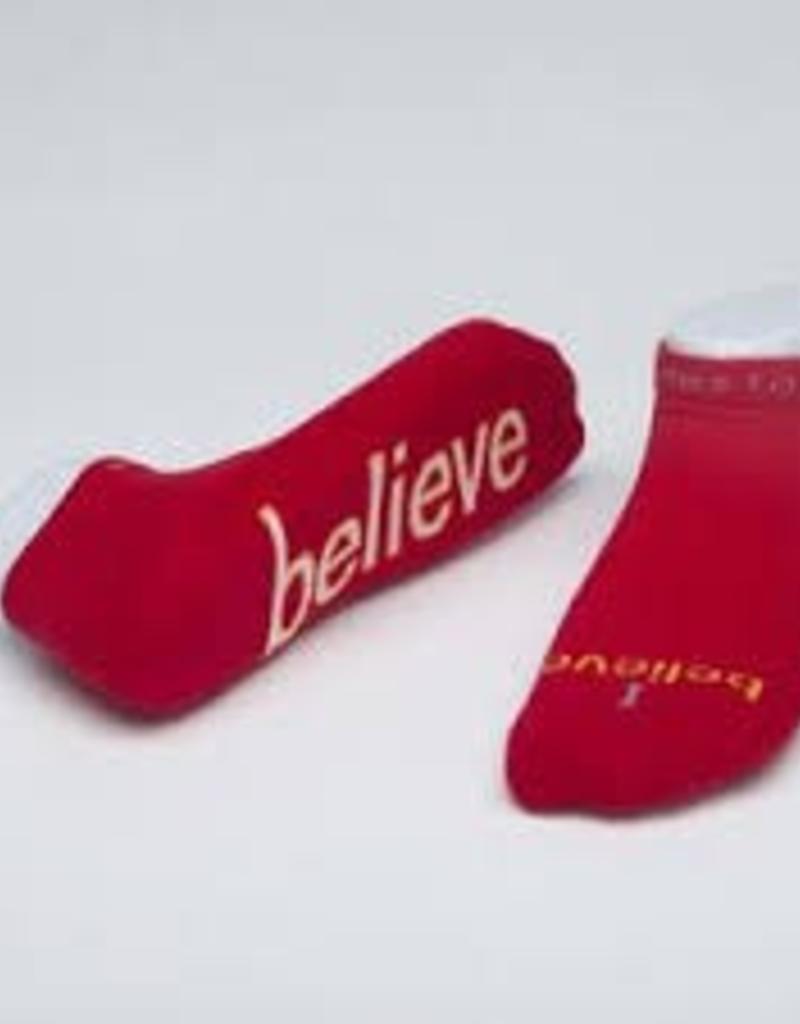 I Believe Socks-Red-Medium