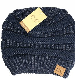 Knitted Beanie Black/Black Metallic