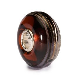 Trollbeads Golden Thread, Brown, Glass