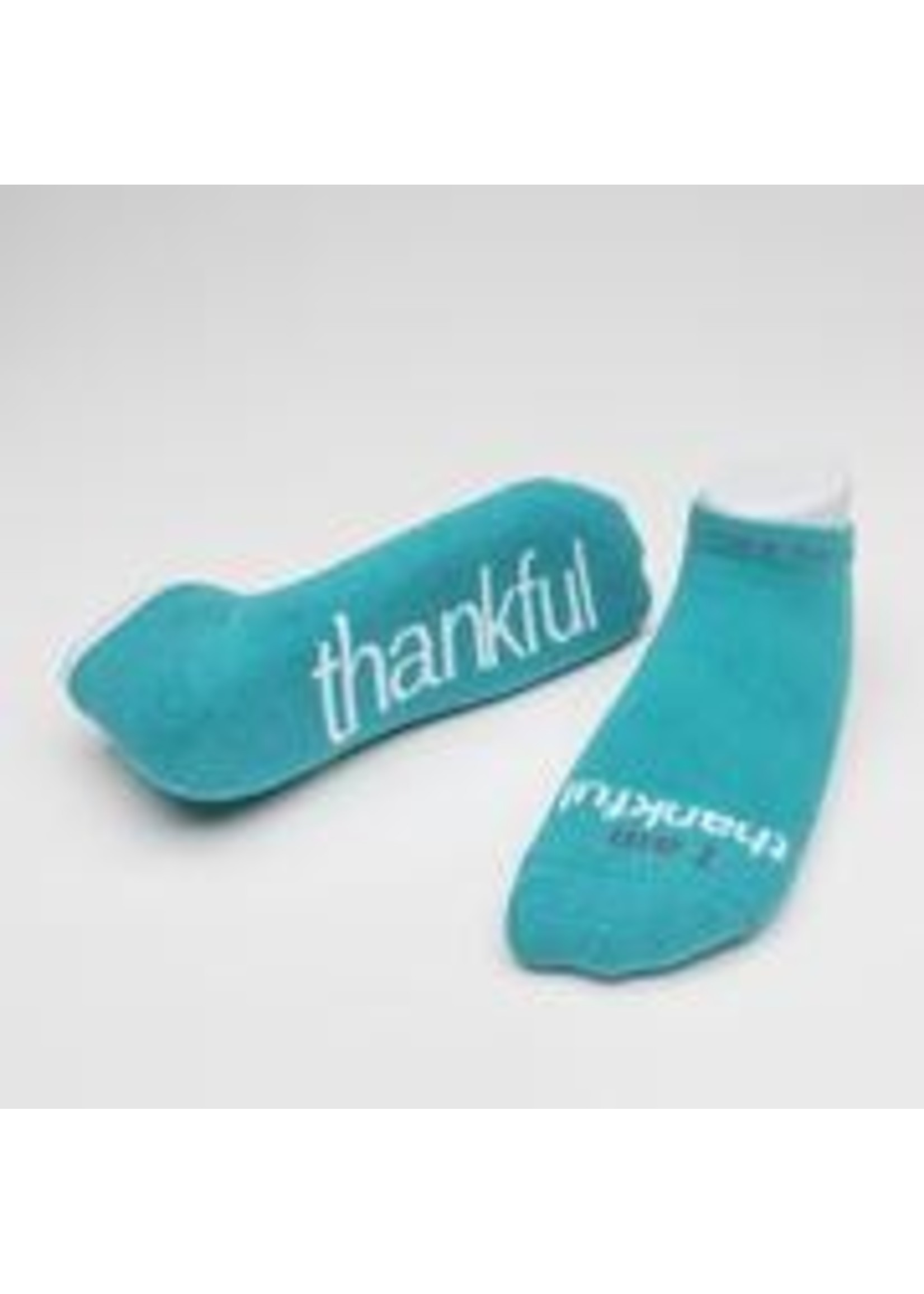Notes to Self I Am Thankful Socks Teal Large