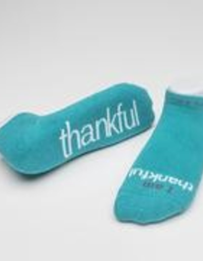 I Am Thankful Socks Teal Large