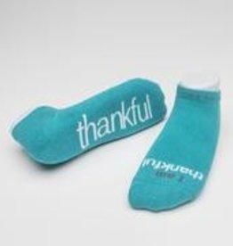 I Am Thankful Socks Teal Medium