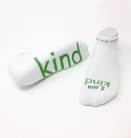 I Am Kind Socks White Kids XS