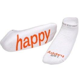 I Am Happy Socks White Kids XS