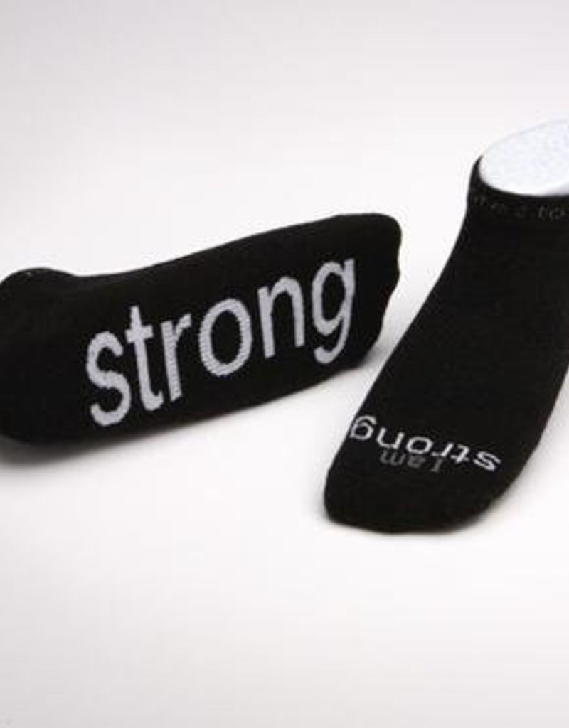 I Am Strong Black Socks Kids XS