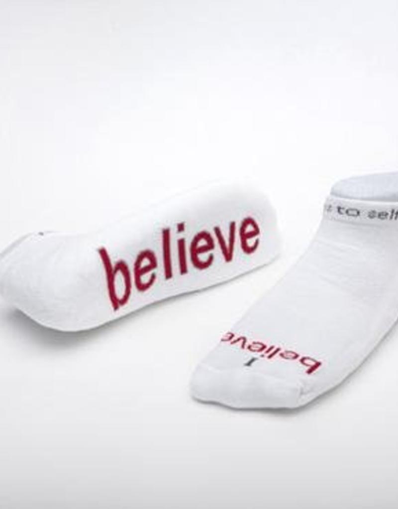 I Believe Socks White Medium