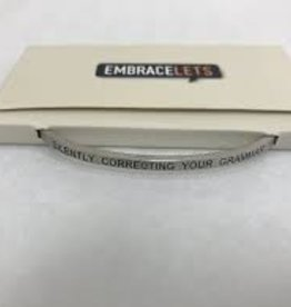 Silently Correcting Your Grammer Embracelet Silver