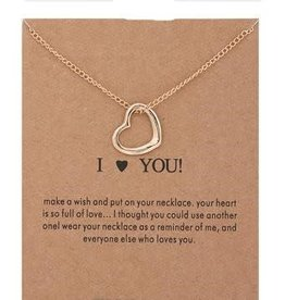 I Love You Open Heart Necklace - Gold