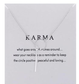 Ring & Bar Karma Necklace - Silver