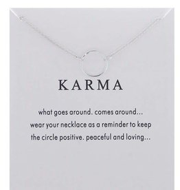 Karma Single Ring Necklace - Silver