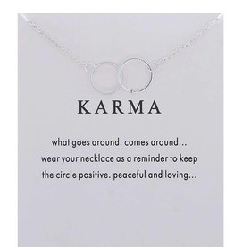 Double Ring Karma Necklace - Silver