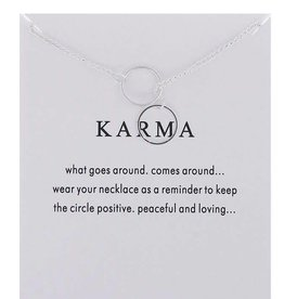 Perpendicular Double Ring Karma Necklace - Silver