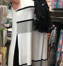 Side Open Stripe Block Dress