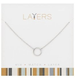 Silver Open Circle Layers Necklace