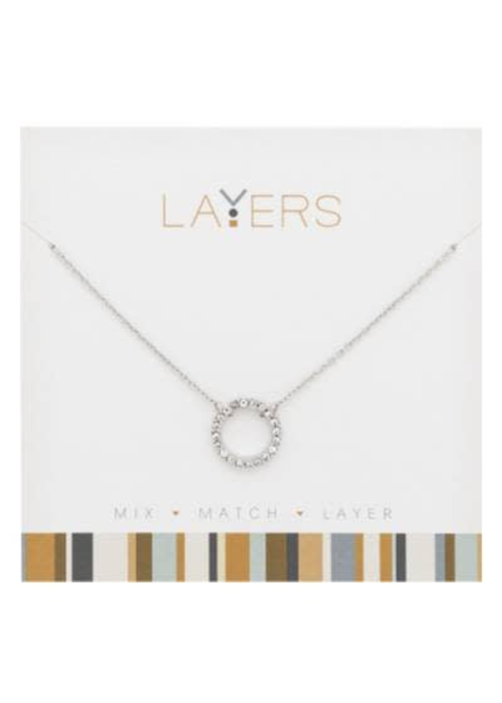 Layers Silver CZ Decorative Circle Layers Necklace