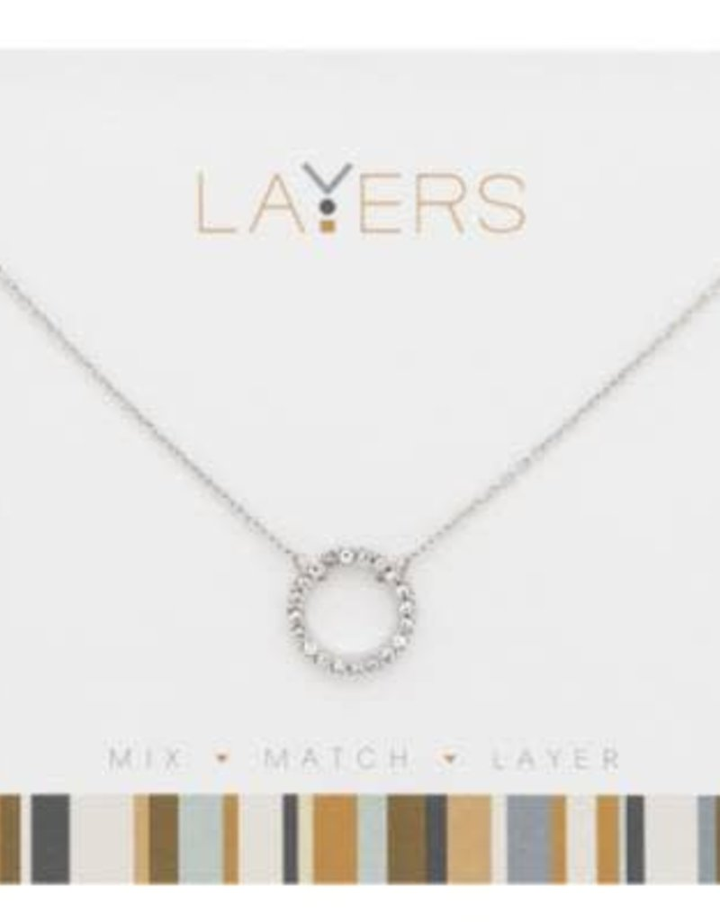 Silver CZ Decorative Circle Layers Necklace