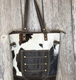 Combined Leather & Hair Tote Bag