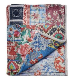 Patchwork cozy blanket blue multi