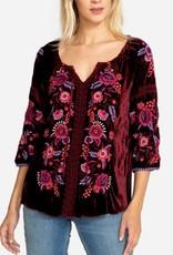 Marcella velvet peasant blouse
