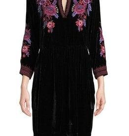 Marcella velvet henley dress