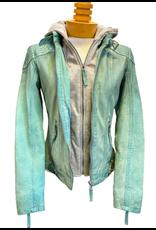 Hattie Pearl green time leather jacket