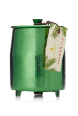 med green metal tin candle
