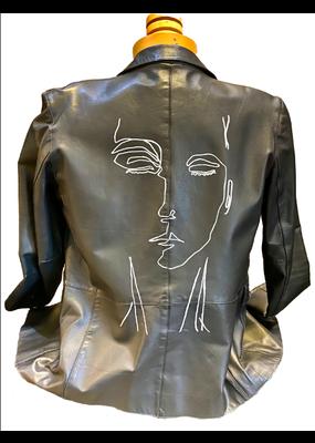 Hattie Pearl Face leather jacket