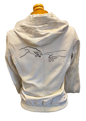 Hattie Pearl white leather hands bomber