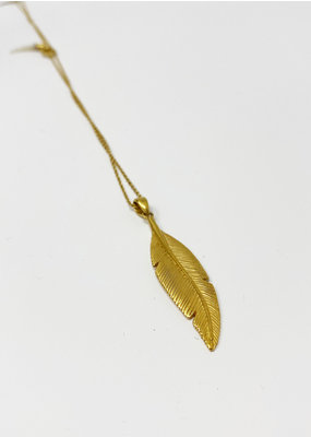 Heather Benjamin Gold Feather Necklace