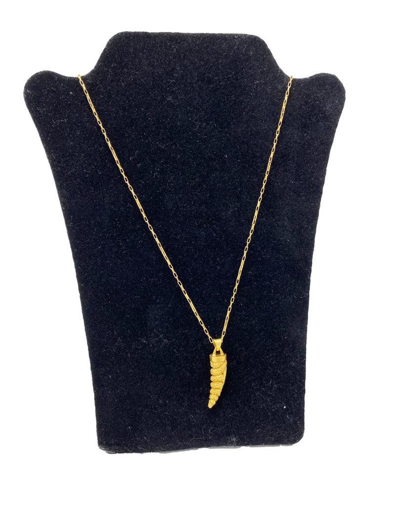 Heather Benjamin Gold Snake Horn Necklace