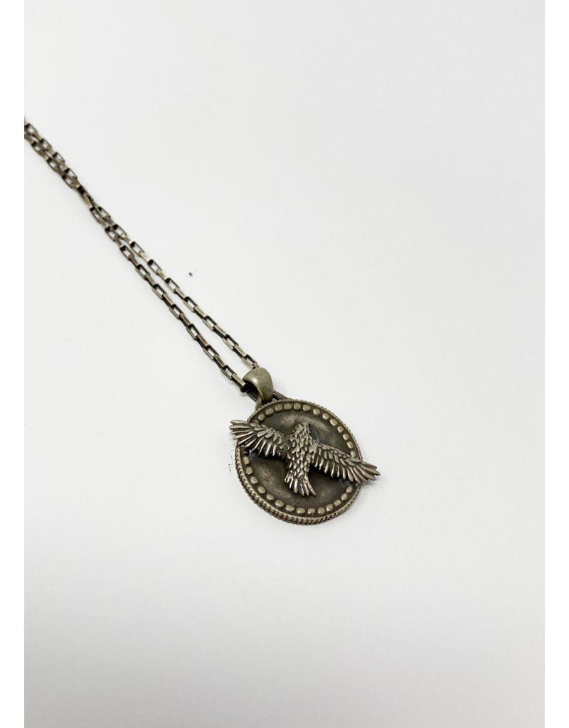 Heather Benjamin Oxidized SS Hawk Necklace