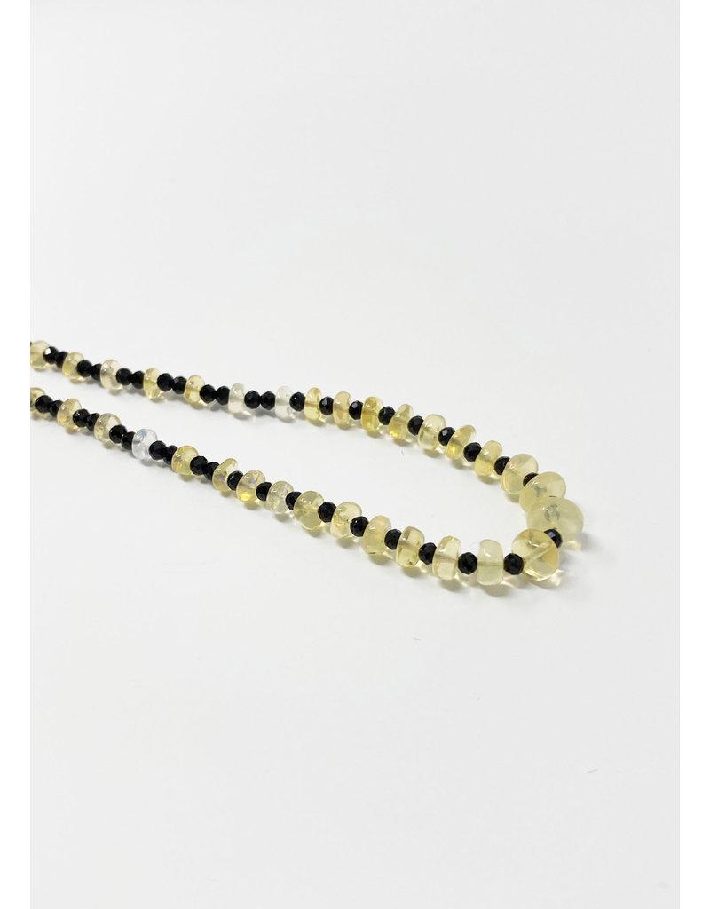 LeLa designs Black Spinel & Opal Necklace