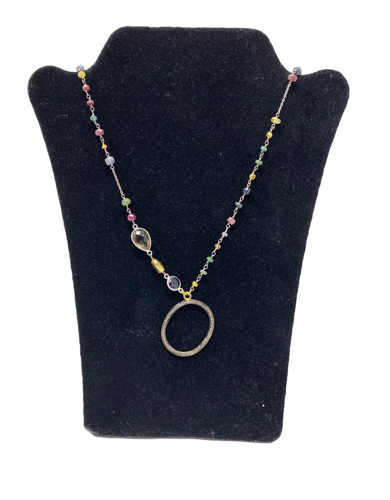 LeLa designs Multi gem eyeglass pendant