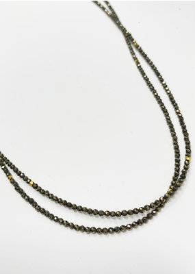 LeLa designs Pyrite & Gold Spacers Necklace