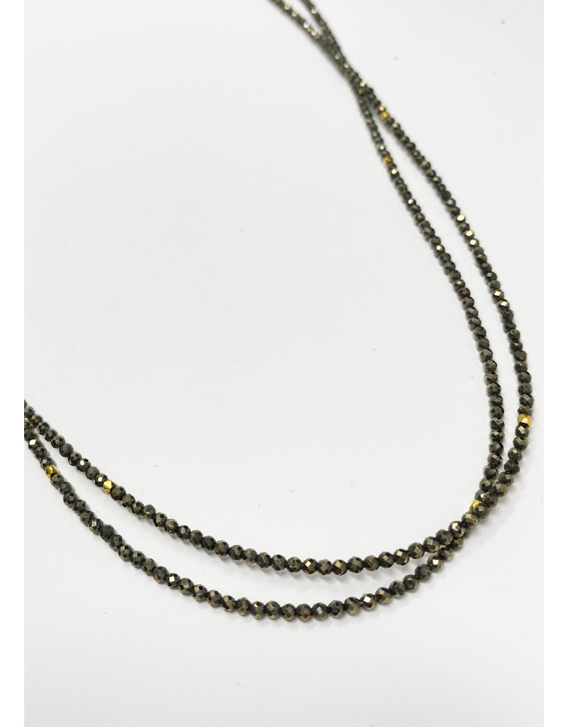 Lela designs Pyrite & Gold Spacers Necklace