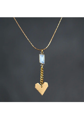 KBD Studio Hammered Chain Heart Moonstone Necklace