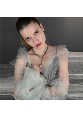 KBD Studio KBD Studio Sleek Ring Arrow Drop Chain Crystal Necklace