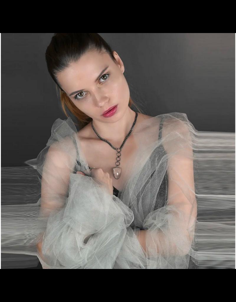 KBD Studio Sleek Ring Arrow Drop Chain Crystal Necklace