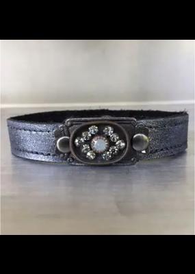 KBD Studio Vintage Stone Stacker- Dark Silver Mist Leather
