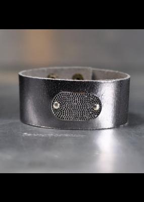 KBD Studio Micro Black Pave on Lavendar Sky Leather Cuff