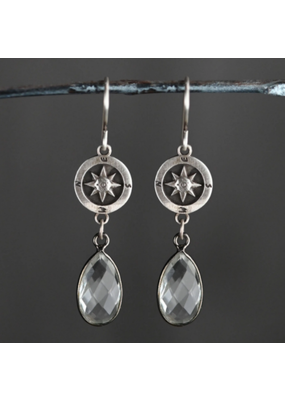 KBD Studio Sterling Silver Compass w Crystal Drops