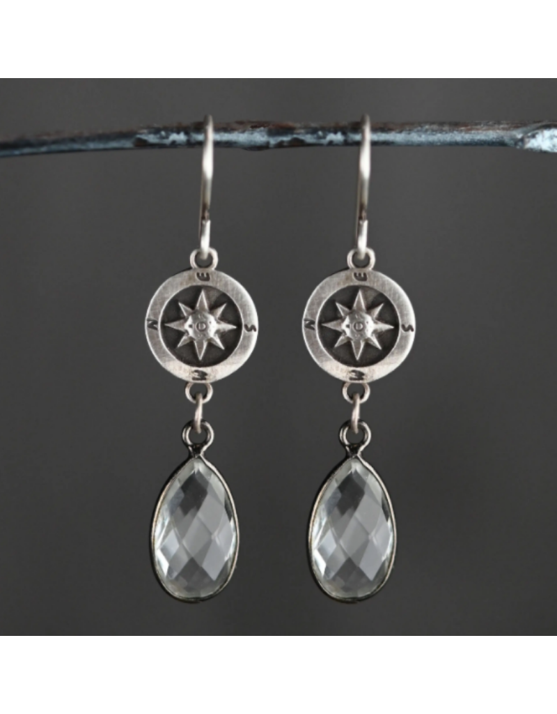 KBD Studio Sterling Silver Compass with Crystal Drops Necklace
