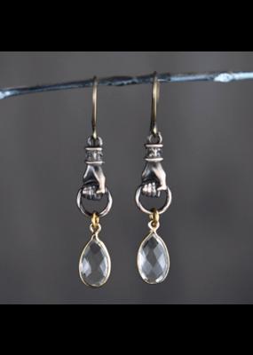KBD Studio Bronze Grasping Earrings with Crystal Drops