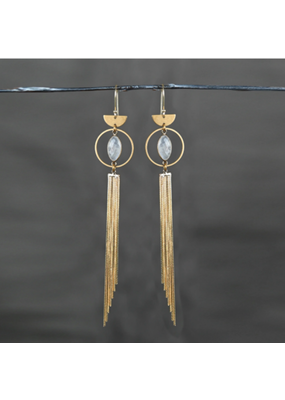 KBD Studio Dramatic Circle Eye Gold Tassle & Gold Rutile Earrings