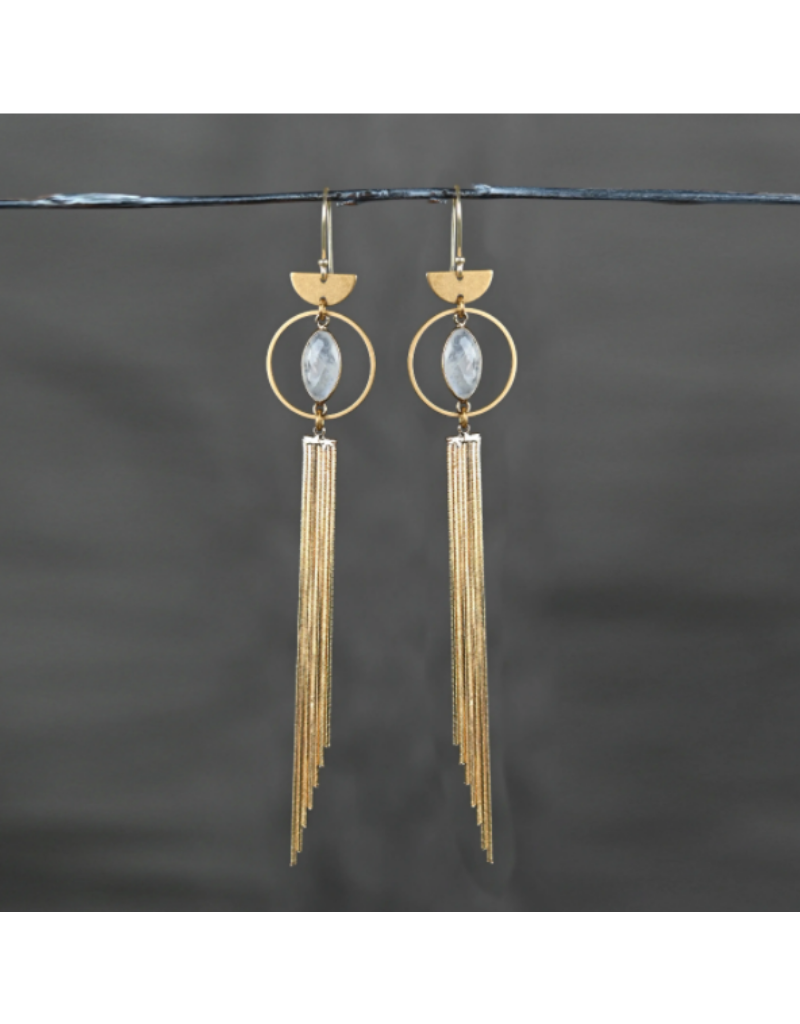 KBD Studio Dramatic Circle Eye with Gold Plated Tassel- Prasiolite Earrings