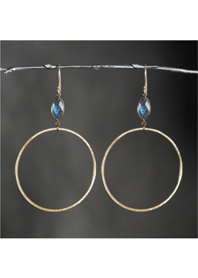 KBD Studio KBD Studio Large Gold Hoops- Moonstone