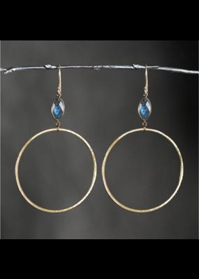 KBD Studio Large Gold Hoops- Moonstone