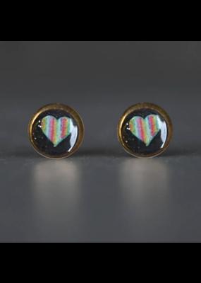 KBD Studio Tiny Picture Studs- Rainbow Heart